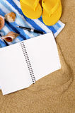 Beach vacation background writing book diary copy space vertical. Beach background writing book travel planning copy space vertical Royalty Free Stock Image