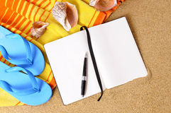 Summer beach background writing book copy space Stock Photo