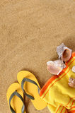 Summer beach background yellow towel copy space vertical Royalty Free Stock Photos