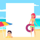 Beach background. Young girl and child. Cartoon style vector illustration