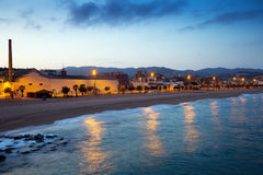 Beach of Badalona in evening Royalty Free Stock Image