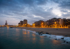 Beach of Badalona in evening Royalty Free Stock Photo