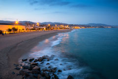 Beach of Badalona in evening Stock Photo