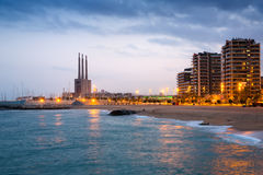 Beach of Badalona in evening Royalty Free Stock Images