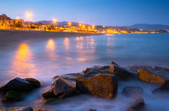 Beach of Badalona in night Stock Photos