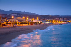 Beach of Badalona in twilight Stock Photography
