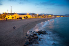 Beach of Badalona in twilight. Time. Catalonia Royalty Free Stock Image
