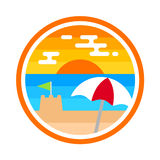 Beach badge. Ocean illustration emblem graphic design Royalty Free Stock Image