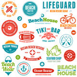 Beach badges and emblems vector illustration
