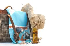 Beach bag and accessories Royalty Free Stock Photo