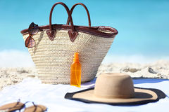 Beach Bag And Hat, Sunglasses And Sunscreen Lotion Stock Images