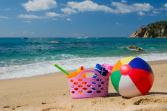 Beach bag and ball stock photography