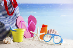 Beach bag with beach accessories Royalty Free Stock Photo