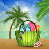 Beach bag on the beach Stock Photography