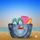 Beach bag on the beach Stock Photo