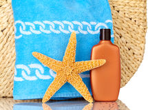 Beach Bag, Blue Towel, Sunscreen, Starfish Royalty Free Stock Photos