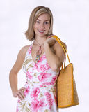 Beach bag femme. Pretty woman all ready to set out for the beach Stock Photos