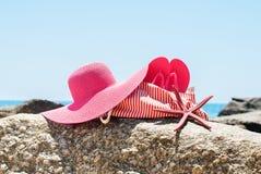 Beach Bag Flip Flops Sea Star Hat Stones Summer Stock Image