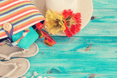 Beach bag, hat and other beach stuff Stock Photos