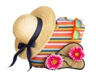 Beach bag, hat and other beach Stock Photos
