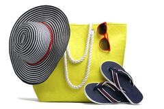 Beach bag, hat and other beach stuff Royalty Free Stock Image