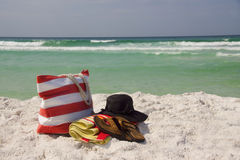 Beach Bag Hat Towel Sandals Horizon Stock Image