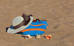Beach bag and hat on vacation Stock Image