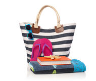 Beach bag and leisure items Stock Photos