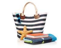 Beach bag and leisure items Royalty Free Stock Image