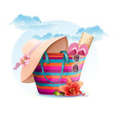 Beach bag with mat, hat.  Royalty Free Stock Photo