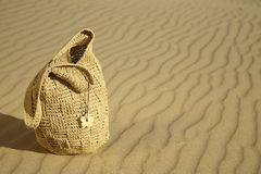 Beach bag on a sand dune Stock Photos