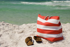 Beach Bag and Sandals Royalty Free Stock Image