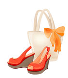 Beach bag and shoes Royalty Free Stock Photo
