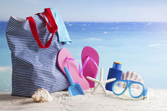 Beach bag, summer vacation background Royalty Free Stock Image