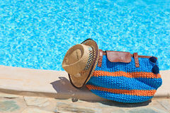 Beach bag on summer vacation Royalty Free Stock Images