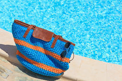 Beach bag on summer vacation Stock Photo