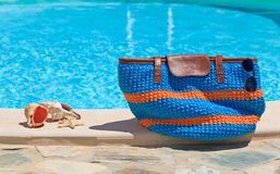 Beach bag on summer vacation Stock Image