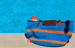 Beach bag with suncream on vacation Royalty Free Stock Images