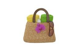 Beach bag and sunglasses Stock Photo