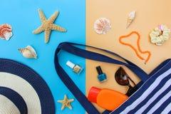 Beach bag sunglasses hair scrunchies nail polish. Beach bag sun hat sunblock beads shells sunglasses hair scrunchies nail polish. Top view royalty free stock photo
