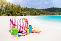 Beach bag with swimming accessories. Sea vacation. Royalty Free Stock Photos