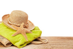 Beach Bag & Towel Stock Photo