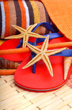 Beach bag with towel and starfish Royalty Free Stock Images