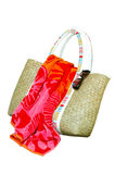 Beach Bag, Towel, Sunglasses, Isolated Royalty Free Stock Image
