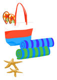 Beach Bag with Towels Royalty Free Stock Photography