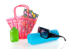 Beach-bag with towels Stock Image