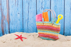 Beach bag. Bag with towels at the beach royalty free stock images