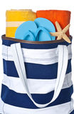 Beach Bag with Towels and Flip Flop Royalty Free Stock Images