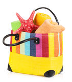 Beach bag with towels stock photography