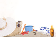 Beach bag with toys and sunglasses Royalty Free Stock Photos
